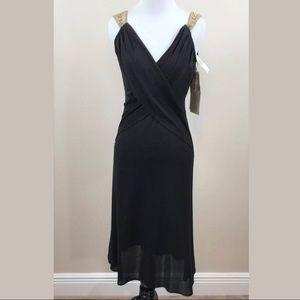 Tracy Reese Sz 8 Black Dress Semi Sheer 100% Silk